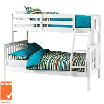 Sarah Solid New Zealand Pine Timber Trio Bunk Bed - White