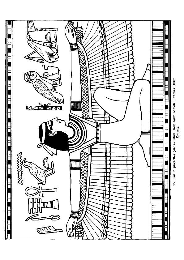La belle déesse Isis, un dessin à colorier.