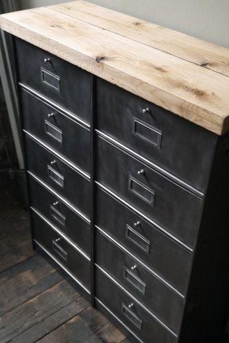 ancien meuble console 10 casiers industriel a clapet roneo 1950 plateau chene massif