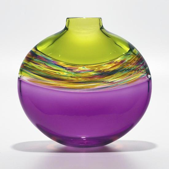 Flat Transparent Banded Vortex Vase in Lime Spring Violet: Michael Trimpol: Art Glass Vase | Artful Home