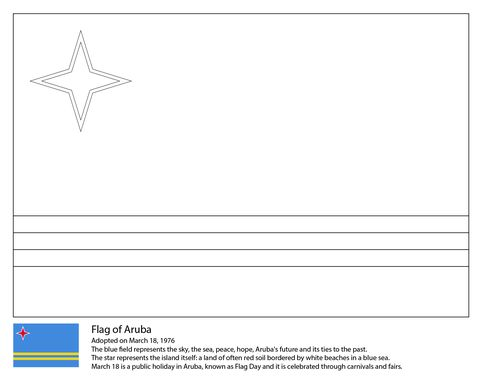 Flag Of Aruba Coloring Page Coloring Pages Printable Coloring