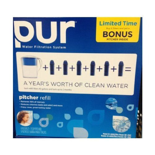 pur water pitcher with 6 x replacement filters bonus pack product features includes pitcher and 6 x replacement filtersa yearu0027s worth of clean