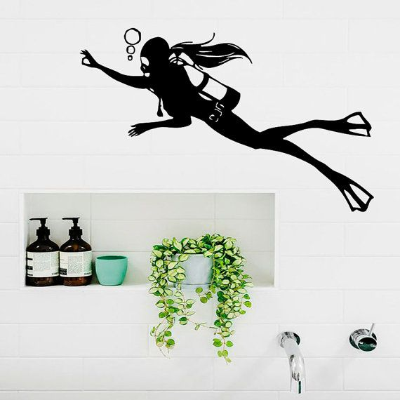 Scuba Diving Wall Decals Girl Diver Aqualanger by DecalMyHappyShop