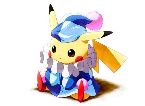 Look at the little baby clown Pikachu!