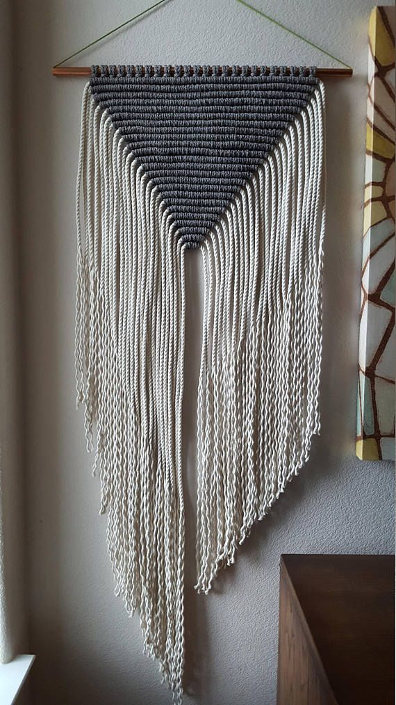 Gray and White Large Modern Macrame Wall