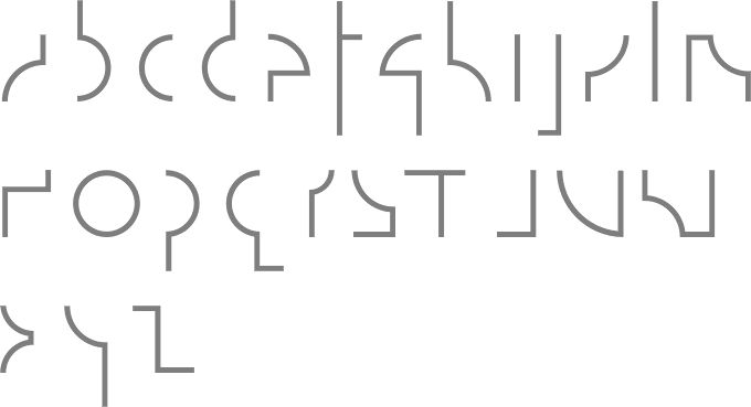 """Komunikat (2004), a redesign of Wladyslaw Strzeminski's 1931 structuralist typeface. An example of early modernist type design.    """"The format parameters of these avant-garde typefaces suppress the individuality of letters by forcing attention to the system—the discrete figures in Strzeminski's radically geometric font, for example, are indecipherable apart from the surrounding code. These fonts are a typographic analogue for structuralist philosophy and linguistics (read Derrida)."""""""