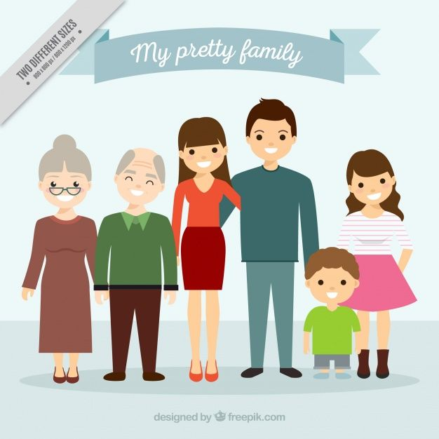 Large united family background Free Vector