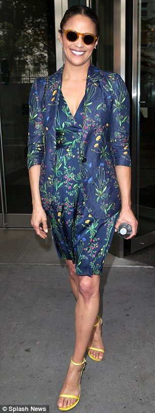 Looking good! The actress later switched to a blue floral number - a matching dress and ja...