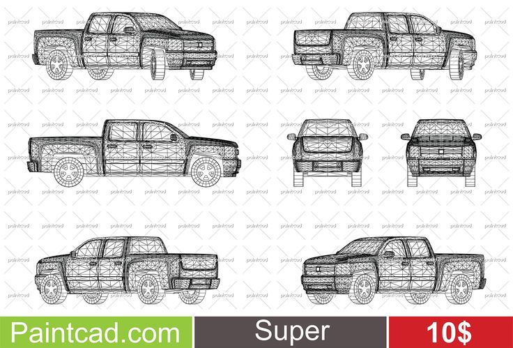 ID #00030, Wireframe design of pickup truck, ONLY 10$ for Standard license. Buy now on: https://www.paintcad.com/30/wireframe-design-of-pickup-truck