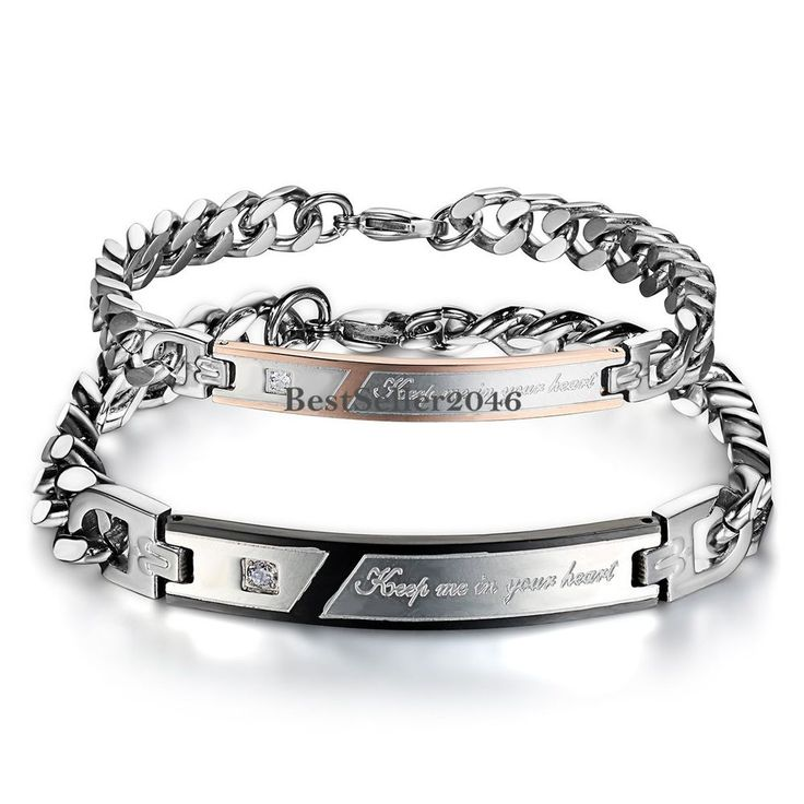 """"""" Keep me in you heart """" His and Hers Stainless Steel Chain Couple's Bracelet #Unbranded #Chain"""