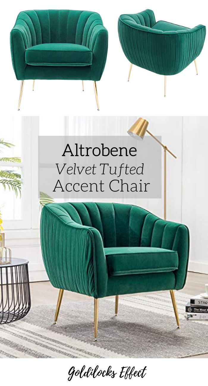 Altrobene Tufted Accent Chair Velvet Upholstered With Gold Legs Green In 2020 Accent Chairs Tufted Accent Chair Upholstered Arm Chair #plush #living #room #chairs