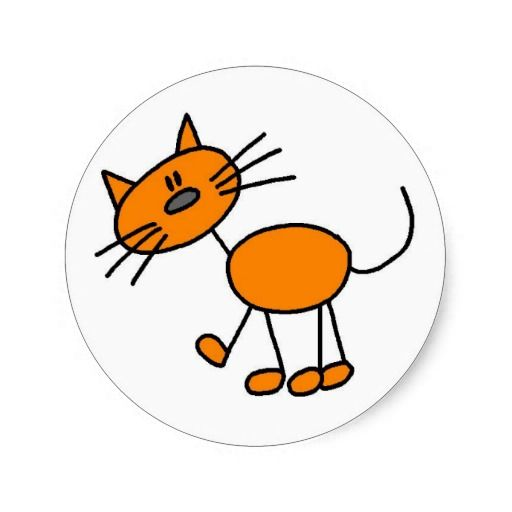 Stick Figure Cat T-shirts and Gifts Classic Round Sticker