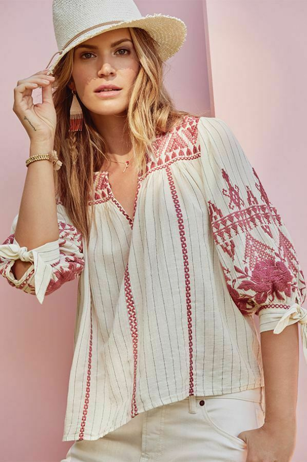 Johnny Was Pink Lania Short Sleeve Long Tunic Top C20218 NEW
