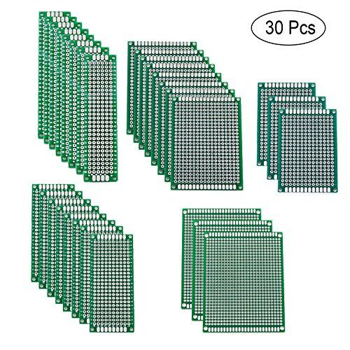 Blinbling 30 Pcs 5 Size Double Sided PCB Board Prototype Kit for DIY  QUANTITY - 30 Pieces double sided PCB board: pre-tinned holes; Material: glass fiber; Thickness: 1.6 mm; Each column and row is clearly labelled to make assembly less error prone. Hole diameter: approx. 1.0 mm; Hole pitch: 2.54 mm; Both sides are soldered uniformly and consistently including plated through holes and pads.  5 DIFFERENT SIZES - 8pcs of 2x8cm, 3x7cm, 4x6cm, 3pcs of 5x7cm, 7x9cm size board which is a goo...