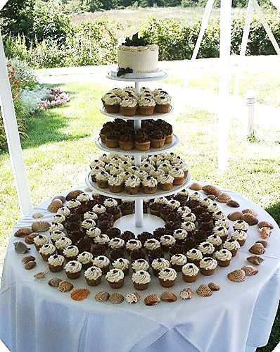 "Too formal.  But like a round ""tier""-ing cupcake table with possibly an old cowboy boot with flowers on top tier>"