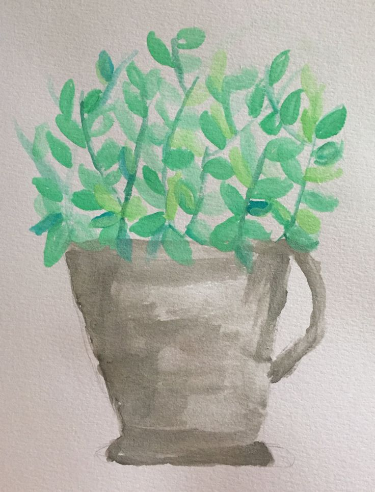 Watercolour potted green by K826 on Etsy
