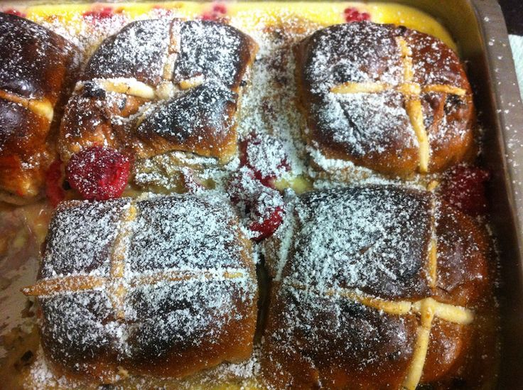 Hot Cross Bun Pudding! Check out our video, click on the photo!