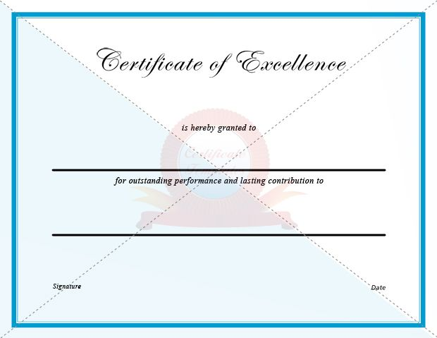 Certificate Of Excellence   Certificate Templates  Certificates Of Excellence Templates