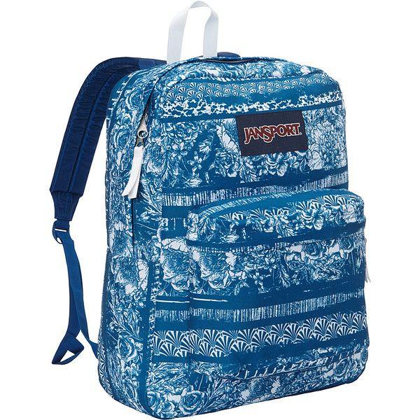 Jansport Superbreak Backpack ($36) ❤ liked on Polyvore featuring bags, backpacks, blue, padded bag, knapsack bag, utility bag, padded backpack and jansport