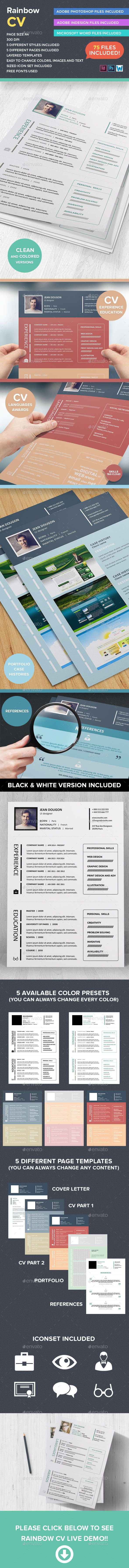 Rainbow CV Creative Template (InDesign INDD, CS4, 210x297, 210x297, a4, artist, business, clean, color, colored, corporate, creative, curriculum vitae, cv, cv design, digital, elegant, freelance, freelancer, graphic designer, hr, human resources, job, personal, photographer, professional, profile, resume, simple, skill, tag cloud, web developer)