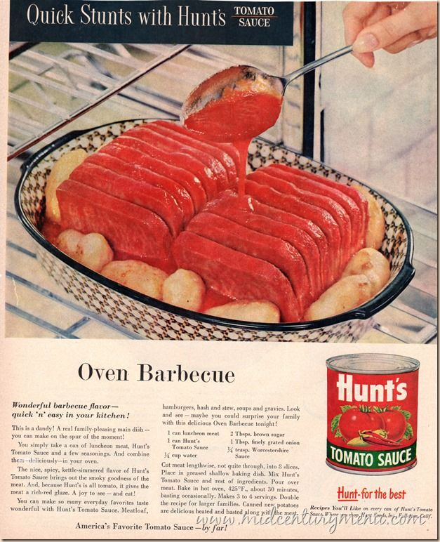 A can of Spam, a can of tomato sauce and your oven.  You're ready for a barbecue!