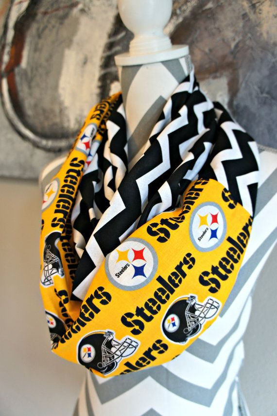 Pittsburgh Steelers Chevron Infinity Scarf by PinkPearBoutique