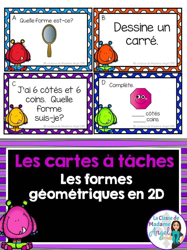 Les cartes à tâches pour les formes géométriques en 2D. 2D shape task cards in French! Fun game or Math Center. $