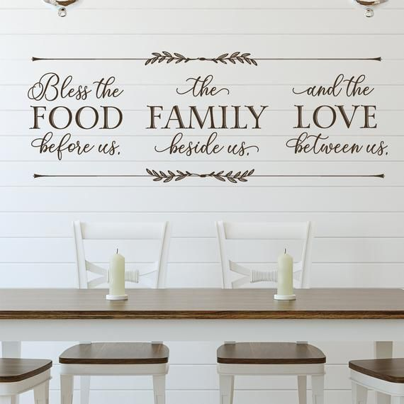 Bless The Food Before Us Wall Decal Dining Room Wall Art Dining Room Wall Decor Food Quote Kitchen Decor Family Quote For Wall Dining Room Wall