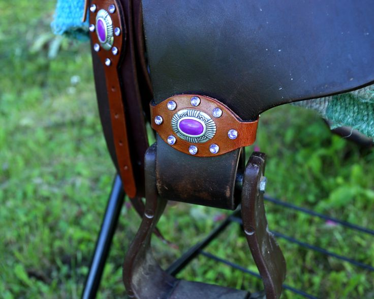 Handcrafted Leather Stirrup Hobbles with Oval Agua Concho & Purple Synthetic Crystal Rivets by KellysLeatherDesign on Etsy