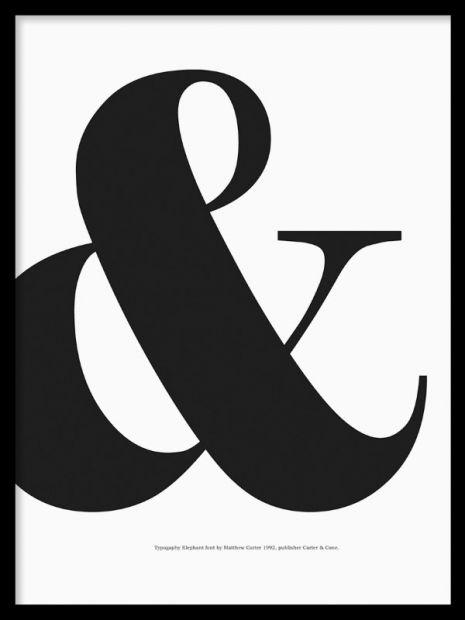 & tavla. Tavlor med & tecken. svartvita tavlor med bokstäver. posters och affischer