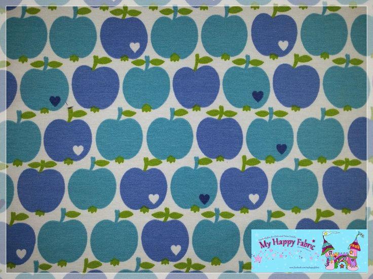 Stoff Äpfel - Äpfel by Graziela, Jersey, Blau auf Hellblau - ein Designerstück von My-Happy-Fabric bei DaWanda