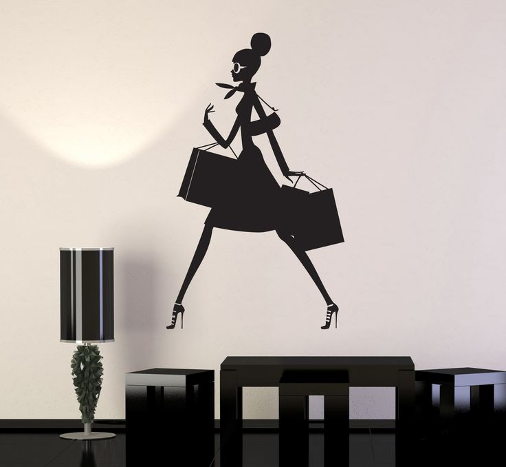 Vinyl Wall Decal Shopping Woman Mall Shop Store Business Stickers (ig4566)