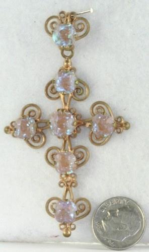 Victorian Antique Large Gold Filled Cross Saphiret Glass | eBay