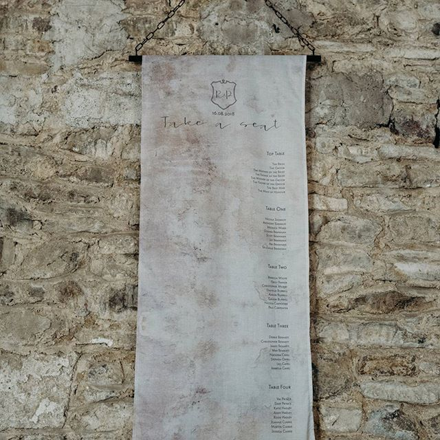 One of my favourite things about styling a wedding is to come up with ideas for your table plans and seating charts. I designed this hanging fabric table plan for my Industrial Luxe shoot at @greatfulfordwedding last year. There are lots of fantastic options for table plans and seating charts ... you don't just have to stick with a card or board on an easel ... so get in touch if you'd like to discuss options for your wedding!  Photographer @clarekinchinphotography . . . . . #tableplans…
