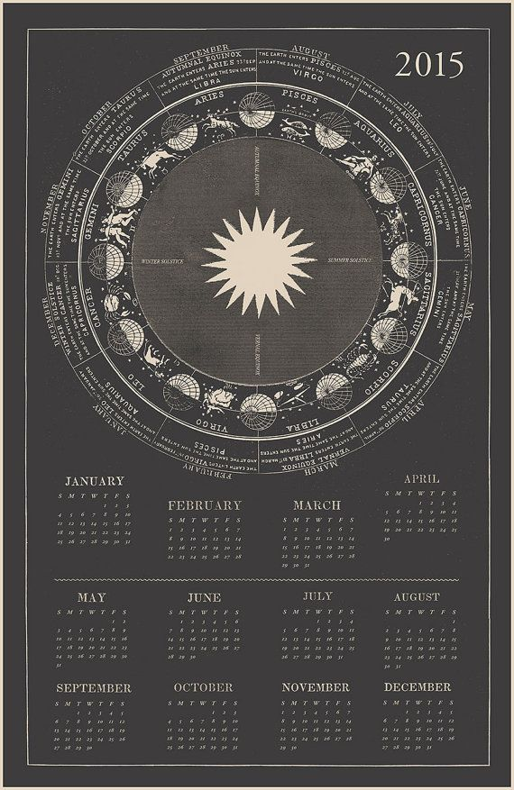 Laurel Canyon Dreaming's 2015 Calendar. Features the Astrological signs of the zodiac, based on beautifully drawn antiquarian illustrations.