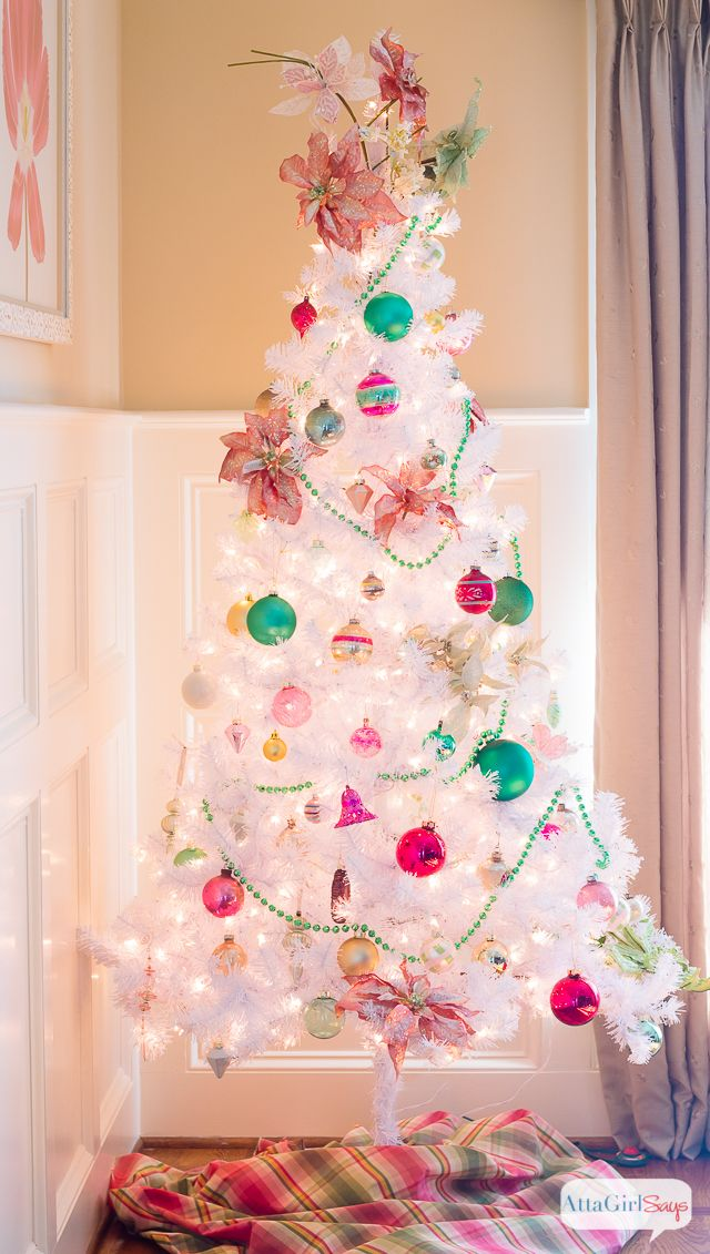 Atta Girl Says | Vintage White Christmas Tree with Shiny-Brite Ornaments | http://www.attagirlsays.com