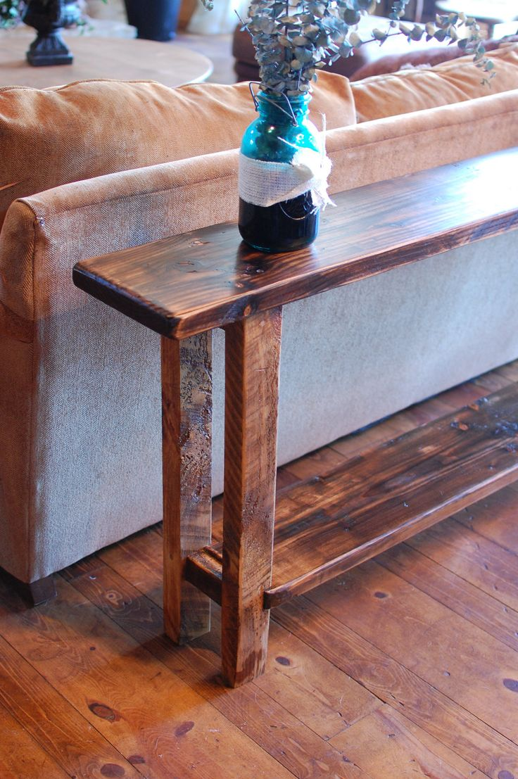 Primitive Reclaimed wood Sofa Entry Table 7ft long by thelakenest