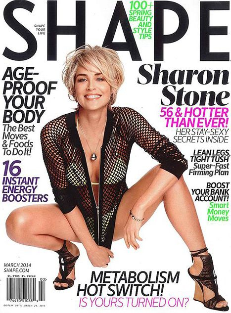 Sharon Stone 56 and looks great! Hair cut is really cute on her♥ March Issue Shape