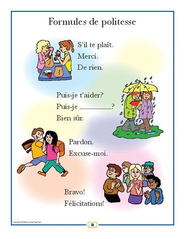 French Courtesies Poster - Italian, French and Spanish Language Teaching Posters | Second Story Press