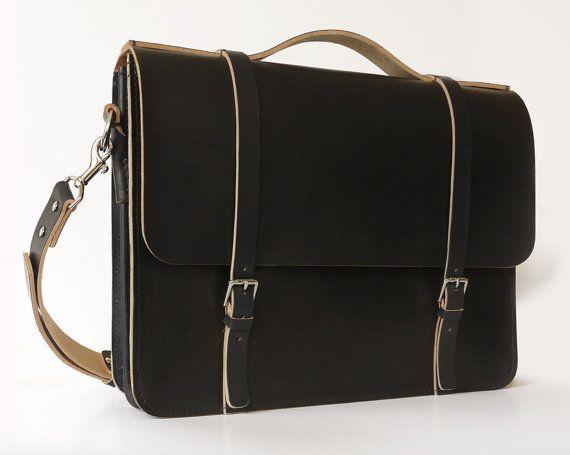 Black Leather Messenger Bag Laptop Bag Women's Men's by BasAder, $280.00