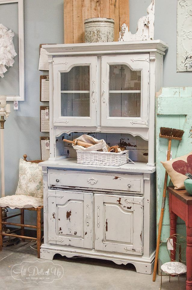 Grainsack Chippy Cupboard. Keep your favorite pieces sweetly displayed in a 2 piece cupboard. Paint is sealed, so chipping is sealed.