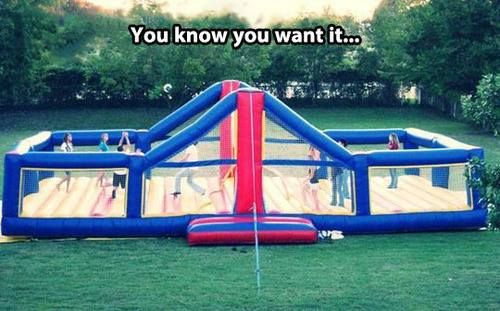 This would be soooo awesome!! Inflatable volleyball net thing.
