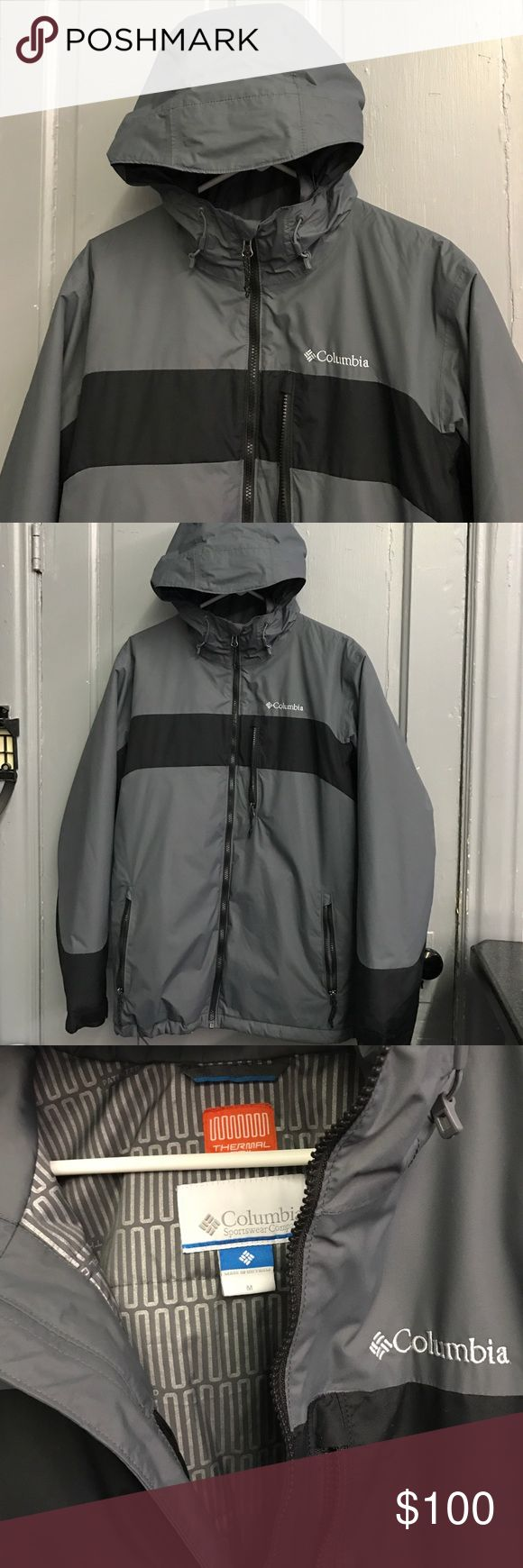 """Men's Medium Columbia Coat LN Thermal Coil This coat is like new to nwot condition. Thermal Coil medium men's from Columbia in sm gray and black.  Zippers on all pockets inside and out as well as adjustable bottom. 48"""" chest and 19"""" from underarm to bottom. Columbia Jackets & Coats Ski & Snowboard"""