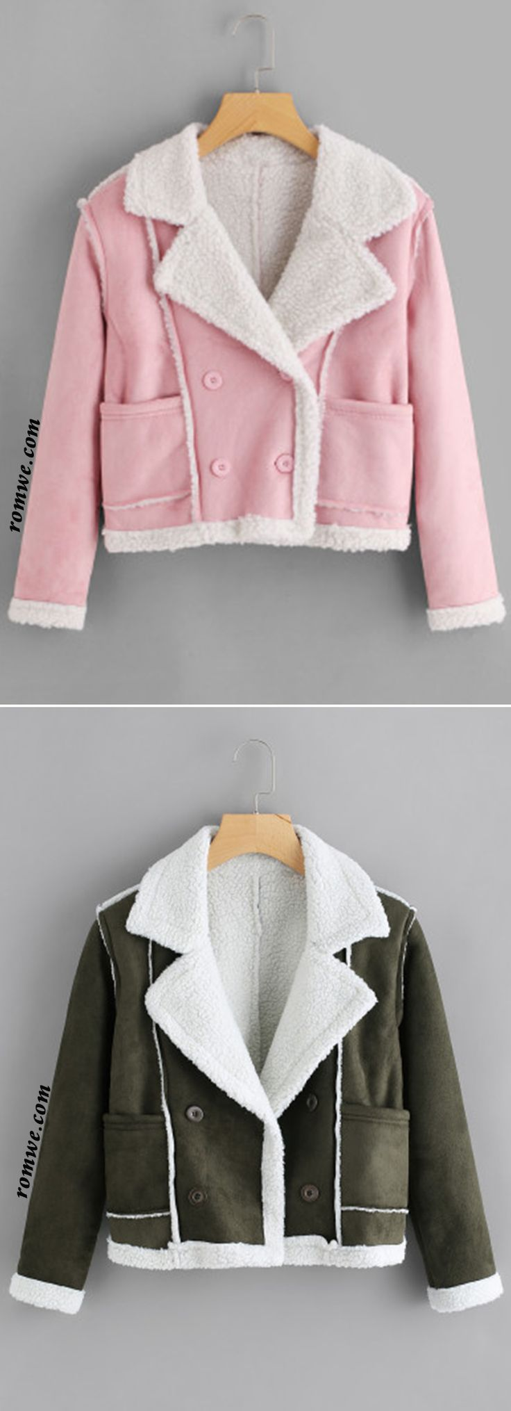Double Breasted Sherpa Lined Jacket