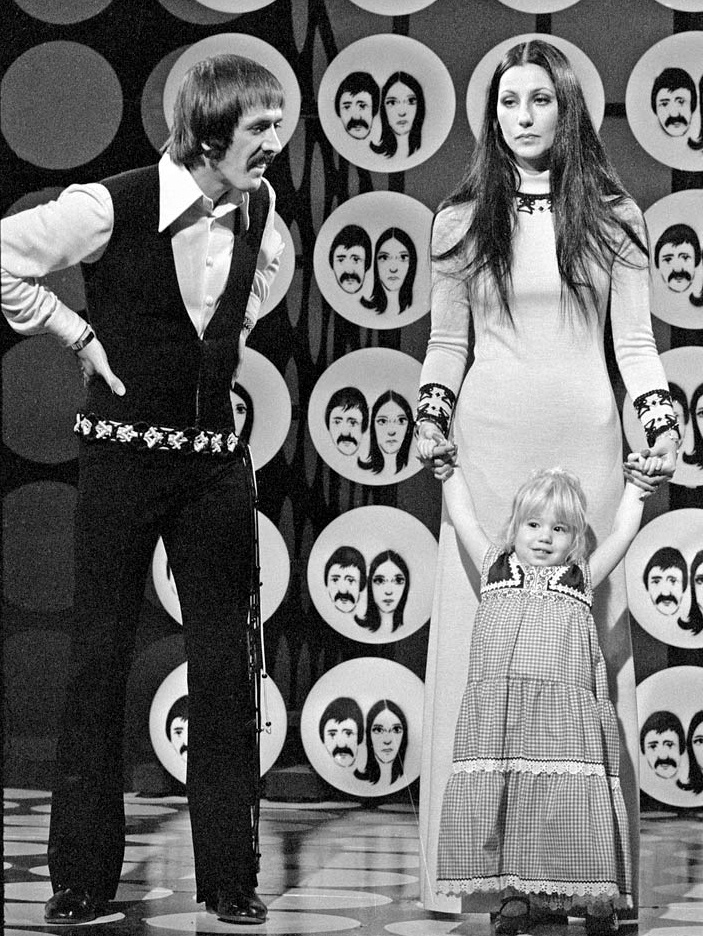 The Sonny & Cher Comedy Hour (1971-74, CBS). Sonny & Cher Bono & daughter Chastity (now Chaz Bono).