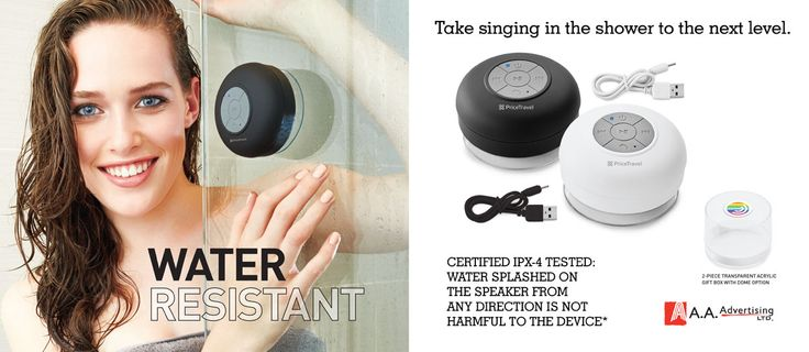 Singing in the shower with a wireless water resistant speaker.