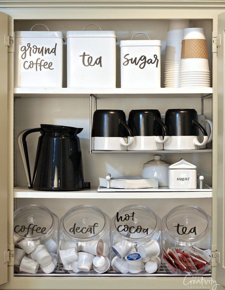 Amazing Organized Coffee Cabinet With Printable Labels Design Ideas