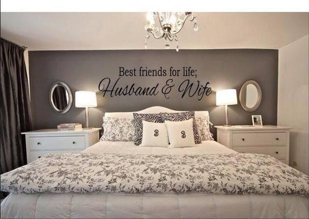 Love this bedroom idea but would have to be black and silver and another wall quote