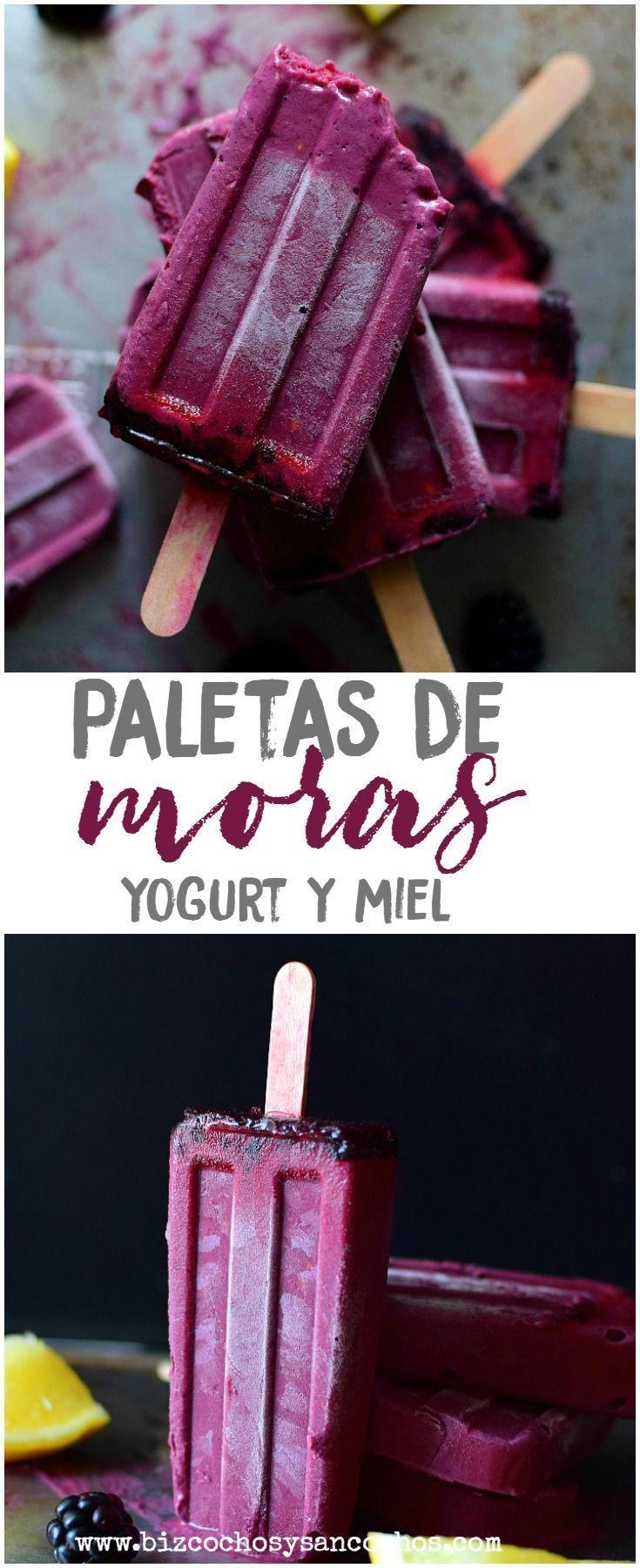 Paletas de mora con yogur y miel. – Postres – #con # miel #mora #Paletas #postr …   – Helados Ideas