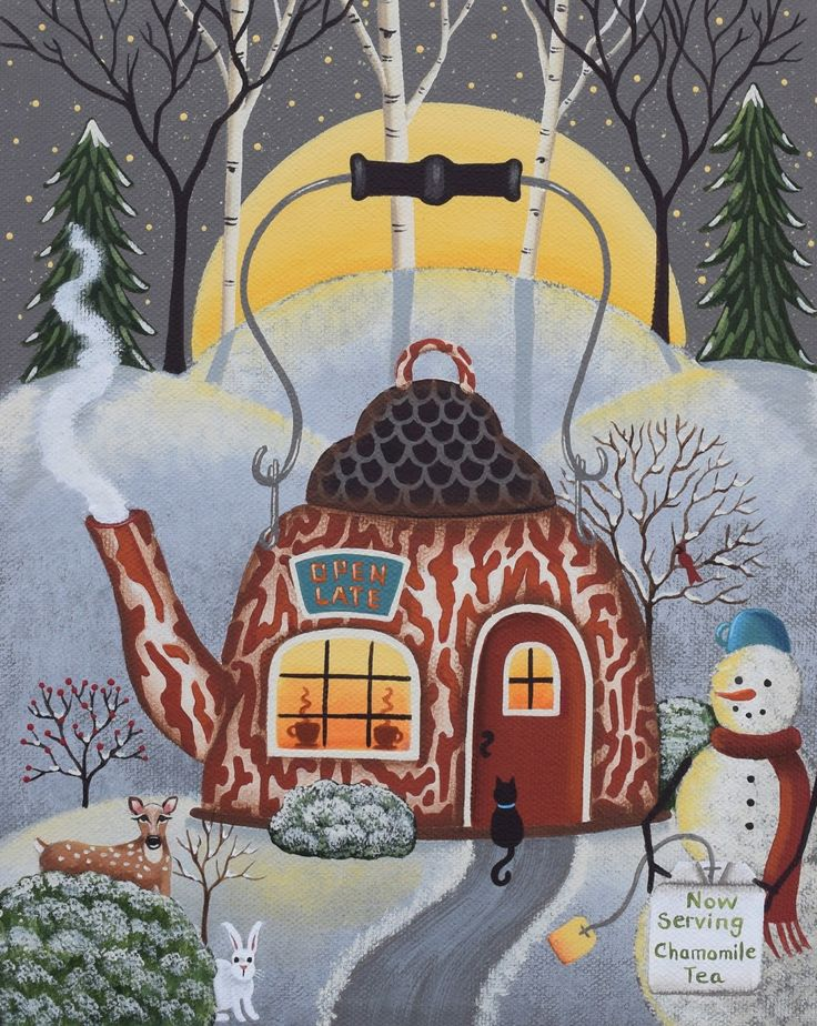 """Tea Kettle Cafe"" Folk Art by Mary Charles (Winter Painting, Snowman, Moon)"